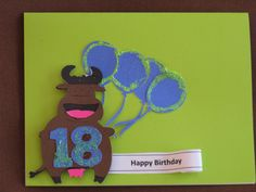 Birthday cow with balloons card