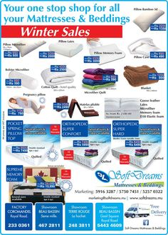 Soft Dreams Mattresses & Beddings - Winter Sales. Tel: 59 16 32 87 / 57 50 74 51