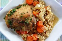 Chicken Barley Bake: I made this for dinner tonight and it is so flavorful and delicious - you'd think I'd slaved over the stove!  Definitely recommend.