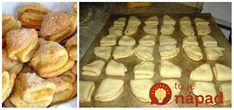 Výborné krehké koláčiky z tvarohového cesta. Potrebujeme: 250 g hladká múka 250 g maslo 250 g tvaroh 1 bal. vanilkový cukor Práškový cukor na posypanie Náplň: tvaroh s hrozienkami, lekvár, plátky jabĺk Postup: Na pracovnú dosku nasypeme múku, pridáme vanilkový cukor a maslo izbovej European Dishes, Food 52, Desert Recipes, Easy Desserts, Tiramisu, Deserts, Muffin, Good Food, Food And Drink