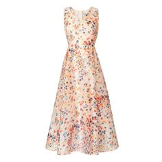 L K Bennett spring Mother of the Bride Rachel Floral Printed Dress Orange - Vermillion