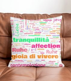 Word Cloud (White) Pillow by Bee-Bee Deigner (beebeedeigner) from White Pillows, Throw Pillows, Word Clouds, Happiness, Feather, Cushion, Delivery, It Is Finished, Serenity