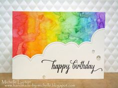 Handmade by Michelle: A couple of rainbows Homemade Birthday Cards, Happy Birthday Cards, Homemade Cards, Watercolor Birthday Cards, Watercolor Cards, Card Making Inspiration, Making Ideas, Rainbow Card, Lettering