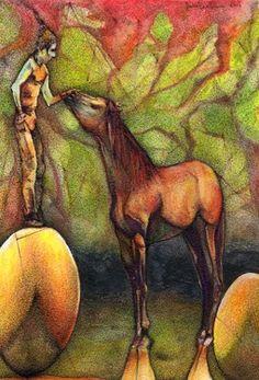 "Saatchi+Online+Artist+daniel+levy;+Painting,+""Caballo+surrealista+encima+de+globo""+#art"