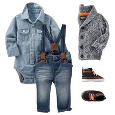 With a super cute skirt instead of overalls - A classic marled shawl collar looks sharp over chambray. Take this little-man look to the next level with suspenders and faux leather high tops! Baby Outfits, Outfits Niños, Little Boy Outfits, Lil Boy, Little Boys, Baby Boy Fashion, Kids Fashion, Guy Fashion, Fashion Fall