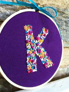 Hand Embroidery. Initial. Embroidery Hoop. by LadyJaneLongstitches                                                                                                                                                      More