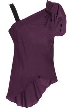 One-shoulder silk-chiffon top