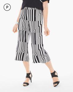 Chico's Women's Petite Graphic Splitting Striped Wide-Leg Crop, Black/Optic White, Size: 0P (4P/6P S)