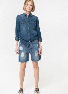 Frayed denim shirt - Women - MANGO