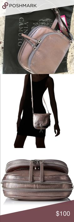 """Vince Camuto Baily Crossbody With tags and dust bag, Gunmetal iridescent color, Leather,, Textile lining, Magnetic Snap closure,  24"""" shoulder drop 8.5"""" high 8"""" wide expanding zipper at bottom, 1st photo of actual bag and others are stock photos Vince Camuto Bags Crossbody Bags"""