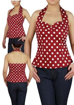 Super cute Plus Size Halter top offered in Red and white and black and white. Great Prices!