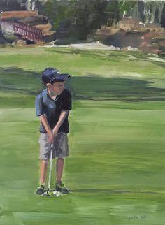 Peinture à lhuile de parcours de Golf/garçon golf Golf
