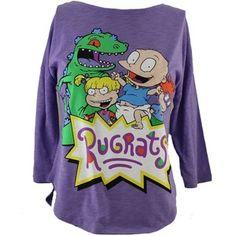 Rugrats Womens T-Shirt Nickelodeon Cartoon Cast Image on Pur ...