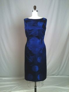 Deep Blue Silk Brocade Cocktail Dress by GreenBowDesigns on Etsy, $450.00