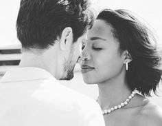 Nana and Jeremy ❤ Gorgeous interracial couple black and white photography #love #wmbw #bwwm #swirl