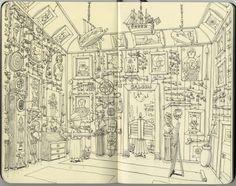 Mattias Adolfsson est un illustrateur qui travaille dans l'industrie du jeu vidéo et qui réalise ces dessins dans ses carnets de croquis.