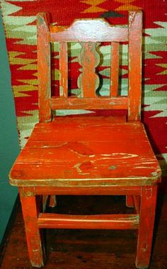 Painted Mexican Furniture   WPA Period New Mexican Childu0027s Chair