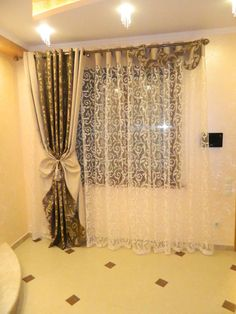 What I like about this is the solid header at the top of the sheer. It gives a nice weight and body to the treatment. Curtains 2018, Hanging Curtains, Drapes Curtains, Curtain Patterns, Curtain Designs, Window Coverings, Window Treatments, Room Interior Design, Interior Decorating