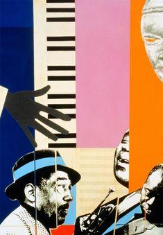De cuando la música, era música. | Romare Bearden,  Duke Ellington & Louis Armstrong. Circa 1970.