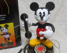 1997 Mickey Mouse Animated Talking Telephone-With Original Box and Styrofoam Packing/Instructions-Tested and Works-Adorable Collectible Caramel Apple Slices, Antique Phone, Kinds Of Shapes, Vintage Telephone, Phones, Mickey Mouse, Nostalgia, Packing, Animation