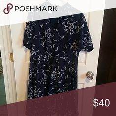 Vintage Blue dress 100%polyester, tie at collar, pleated skirt Diolen Dresses Midi