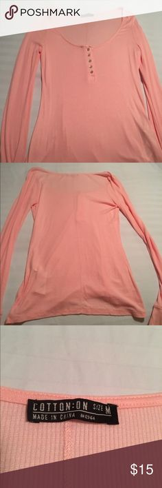 Cotton On Ribbed Henley Soft, lightweight Henley in coral/pink. Never been worn. Cotton On Tops Blouses