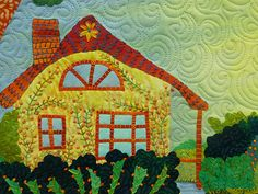 lovely embroidered & pieced house quilt detail, designed by laura wasilowski of artfabrik