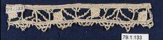 Date:      16th century  Culture:      Italian  Medium:      Needle lace  Dimensions:      L. 6 x W. 1 inches (15.2 x 2.5 cm)
