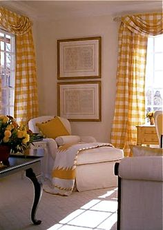 These yellow gingham curtains add instant sunshine to any room! Interior Exterior, Home Interior, Interior Design, Interior Modern, Gingham Curtains, Living Room Decor, Living Spaces, Dining Room, Yellow Cottage
