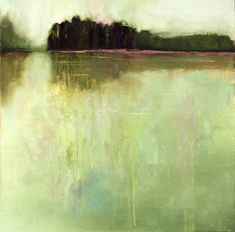Modern minimalistic landscape painting of lake near the forest.  This work will be stretched and ready to hang.