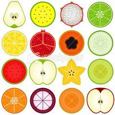Fresh, Cute Vegetable, fruit cut in half (vector Icons) Set#4 Royalty Free Stock Vector Art Illustration