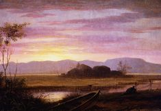 """Fitz Henry Lane: """"PRETTY MARSH, MT. DESERT ISLAND"""", 1850s , Oil on canvas, Measurements: 10 5/8 x 15 3/4 x 1 inches (unframed)  14 x 18 5/8 x 2 1/8"""" (framed), Current location: Farnsworth Art Museum, Rockland, Maine, USA."""