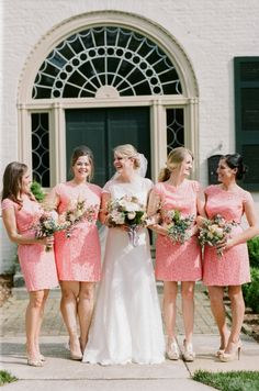coral bridesmaids | White Rabbit Studios | Glamour & Grace