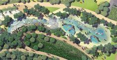 Southport Broadwater Parklands Masterplan Architecture, Landscape Architecture Design, Landscape Drawings, Rios, Master Plan, Organic Shapes, Urban Design, Perspective, Landscaping