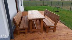 799 zł: Sprzedam zestaw mebli ogrodowych. Stół  i dwie ławy.  Wykonane bardzo starannie z drewna swierkowego. Długość stołu i ławek to 160 cm. Zestaw jest malowany dwukrotnie impregnatem Imprachron. Kolory do...