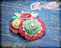 Headband Baby Girl Hair Bow Mint Coral Pale by CrowningPetals, $18.00