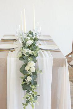 Wedding Table Settings, Wedding Table Centerpieces, Diy Wedding Decorations, Wedding Ideas, Wedding Table Garland, Diy Wedding Table Numbers, Wedding Table Arrangements, Wedding Garlands, Graduation Centerpiece