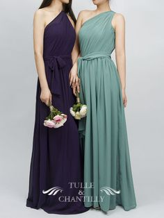 Classic Purple One Shoulder Full Lenth Dress With Side Sash 1