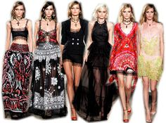 Emilio Pucci  Peter Dundas presented us with a Gothic Gypsy for his Spring 2012 Emilio Pucci collection with seductive black lace and maximum use of iconic Pucci print.  Stunning appliqué, intricately embellished lace, embroidered and beaded heart and skull motifs filled the runway. Perhaps one of my favourites of the season, definitely Dundas best work for Pucci to date.  Gothic-style cross pendants on beaded multi-strand chokers, heart pendants, various earrings featuring birds, stars