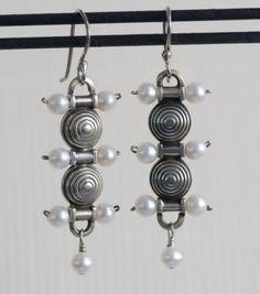 OOP NEW Silver & Pearl Earrings by Allison Stern ~ Vintage 1996 ~ French Wire | eBay