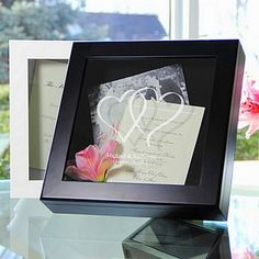 Linked Hearts design personalized keepsake shadow box available in white or black finish