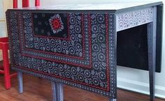 inlay stencil table, painted furniture
