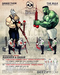 arm superset exercise: thor hammer curls and hulk tricep extensions