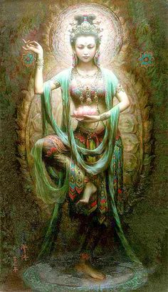 Kuan Yin Buddhist Goddess of Mercy and Compassion Kuan Yin (also spelled Guan Yin, Kwan Yin) is the bodhisattva of compassion venerated by East Asian Buddhists. Commonly known as the Goddess of Mercy,. Dunhuang, Sacred Feminine, Divine Feminine, Mystique, Illustration, Gods And Goddesses, Deities, Dragons, Fantasy Art