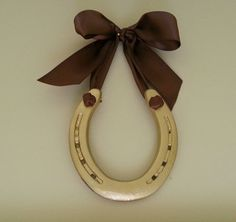 Lucky Gold Horse ShoeChocolate Brown Bow by LuckyPonyShop on Etsy, $32.00