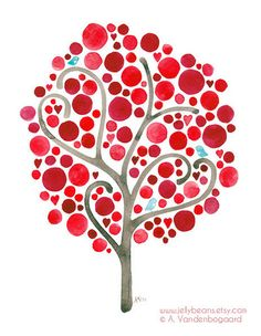 Items similar to Unconditionally Art Reproduction Watercolour Painting Valentines Day Landscape Red Tree Art on Etsy Dot Painting, Painting & Drawing, Pottery Painting Designs, Red Tree, Cherry Tree, Jelly Beans, Tree Art, Art Reproductions, Doodle Art