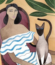 cat and doll illustration by Kelly Marie Beeeman x Mara Hoffman