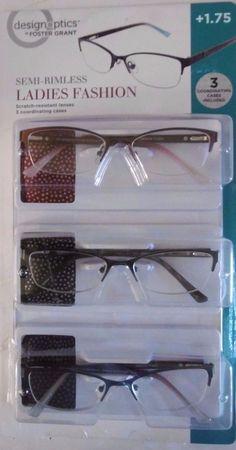 design optics 3pack 175 semirimless ladies fashion reading glasses b33