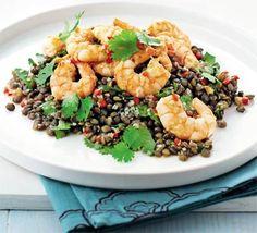 Garlic prawns with Asian puy lentils recipe - Recipes - BBC Good Food Slow Carb Recipes, Clean Eating Recipes, Healthy Eating, Cooking Recipes, Healthy Recipes, Meal Recipes, Healthy Cooking, Gourmet Recipes, Healthy Food