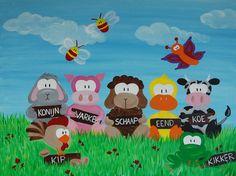 Leerzaam beestenboel (boerderij) schilderij voor kinderen.  Formaat: 80cm bij 60cm / 2cm - Doek: Katoen - Verf: Acryl  - Gemaakt door: Stephanie Fiseler